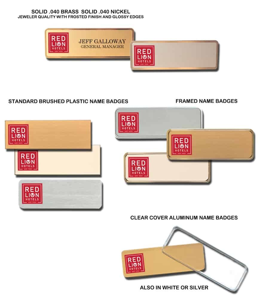 Red Lion Hotel name badges