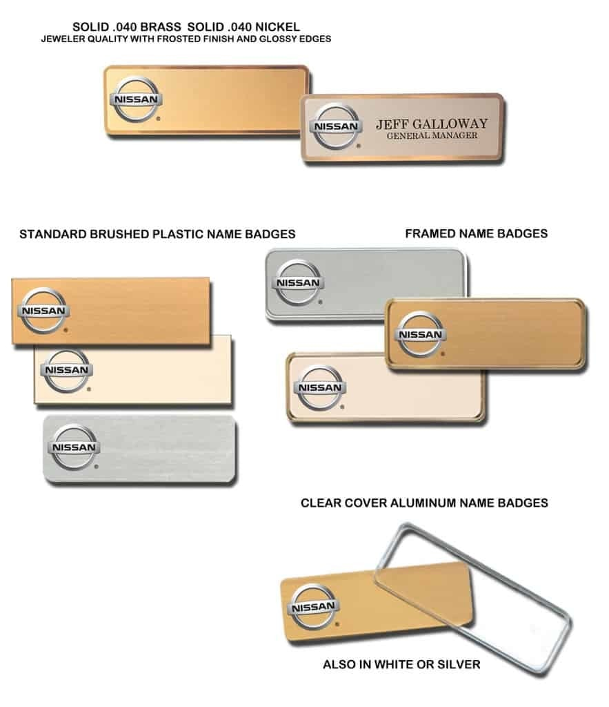 Nissan Name Tags Badges