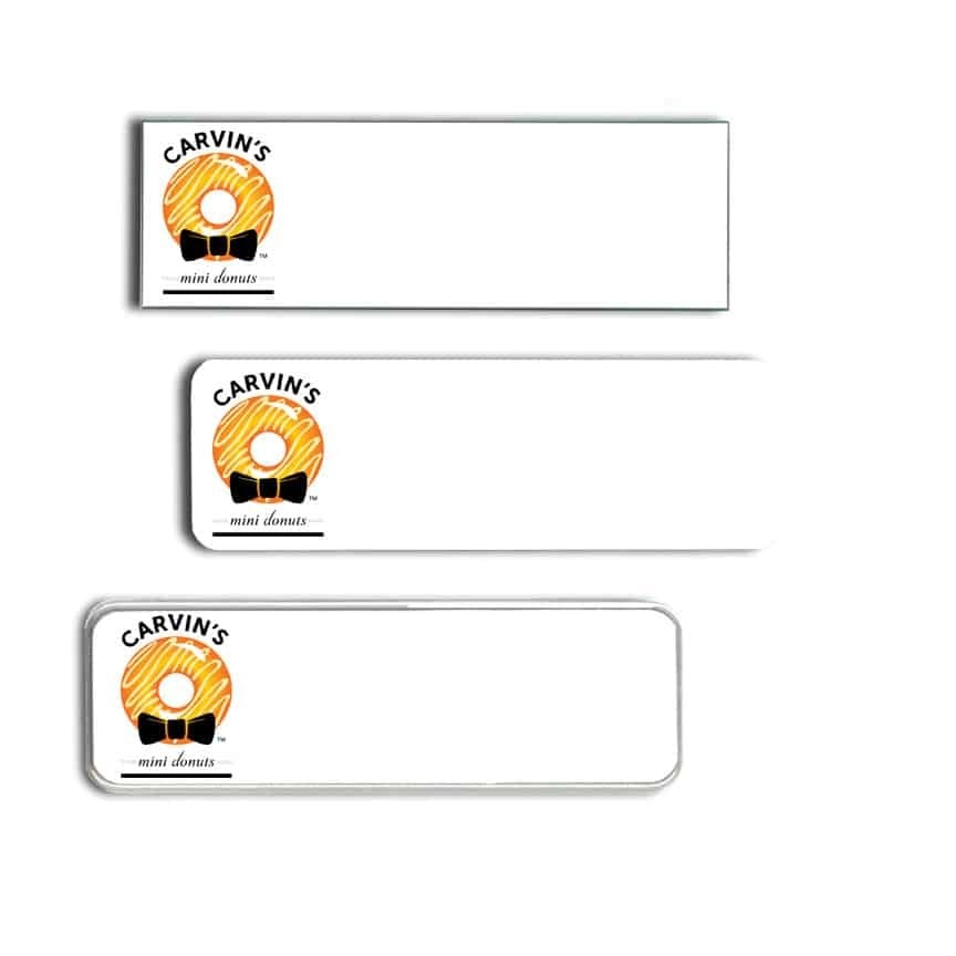 Carvins Mini Donuts Name Tags Badges