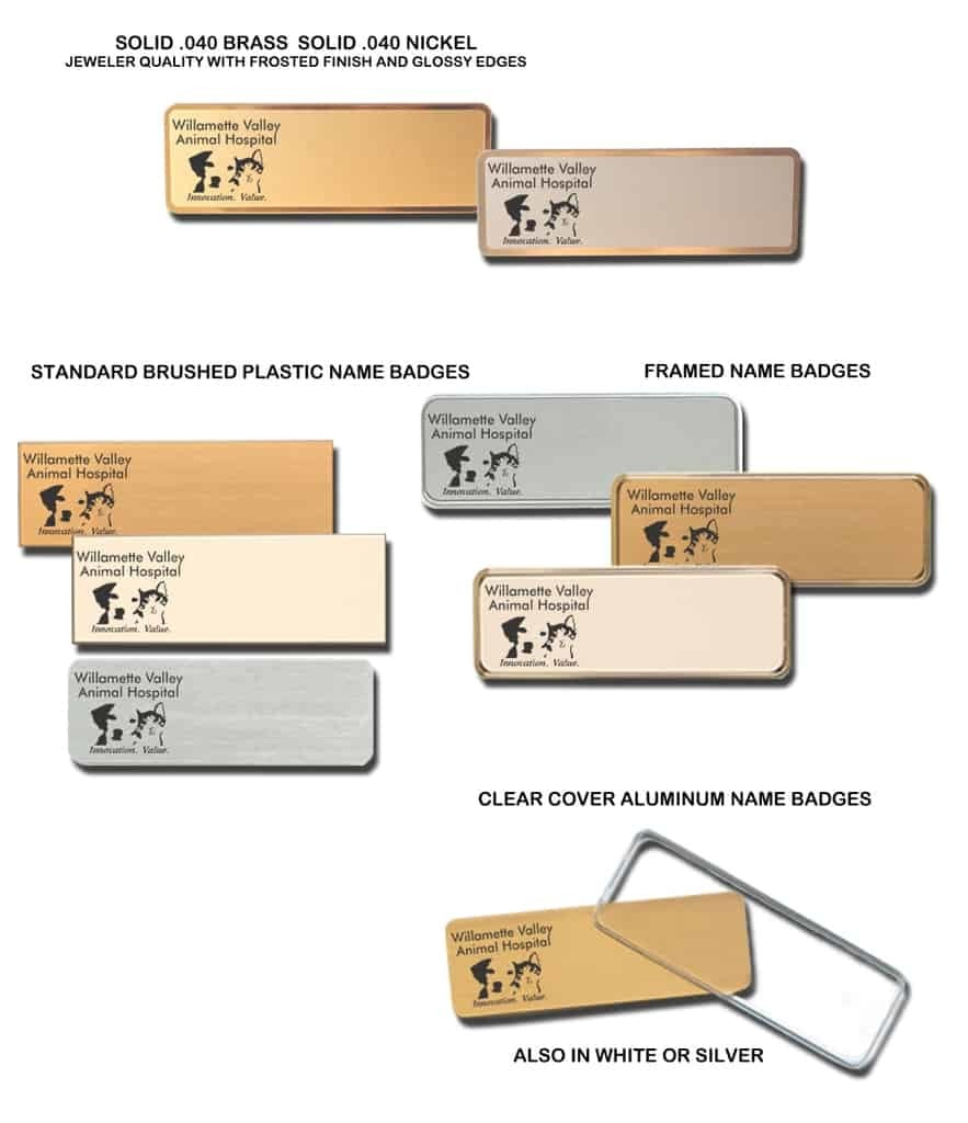 Wllamette Valley Animal Hospital Name Tags