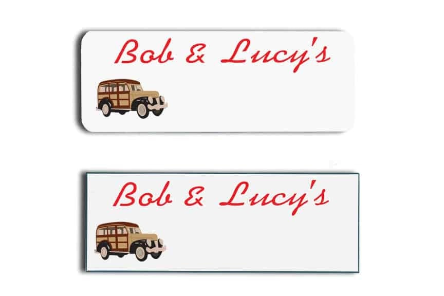 Bob and Lucy's Name Tags Badges