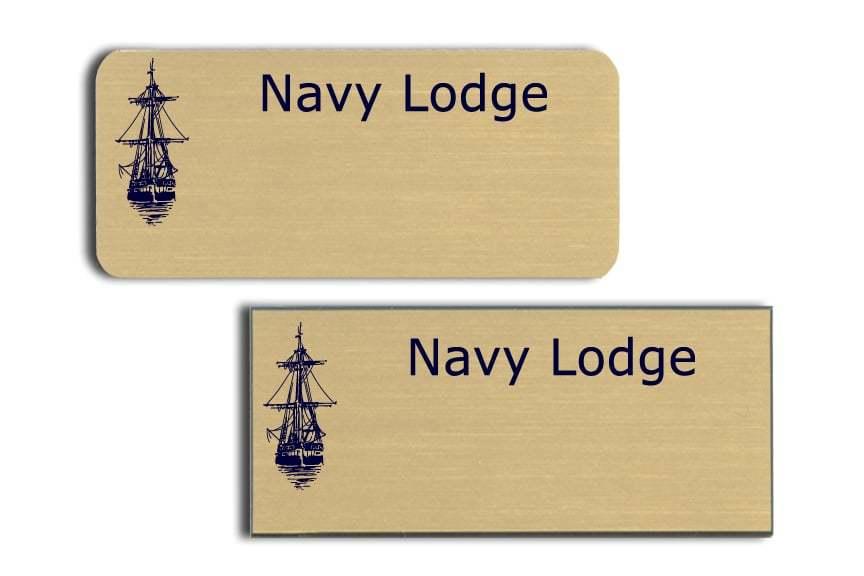 Navy Lodge name tags badges