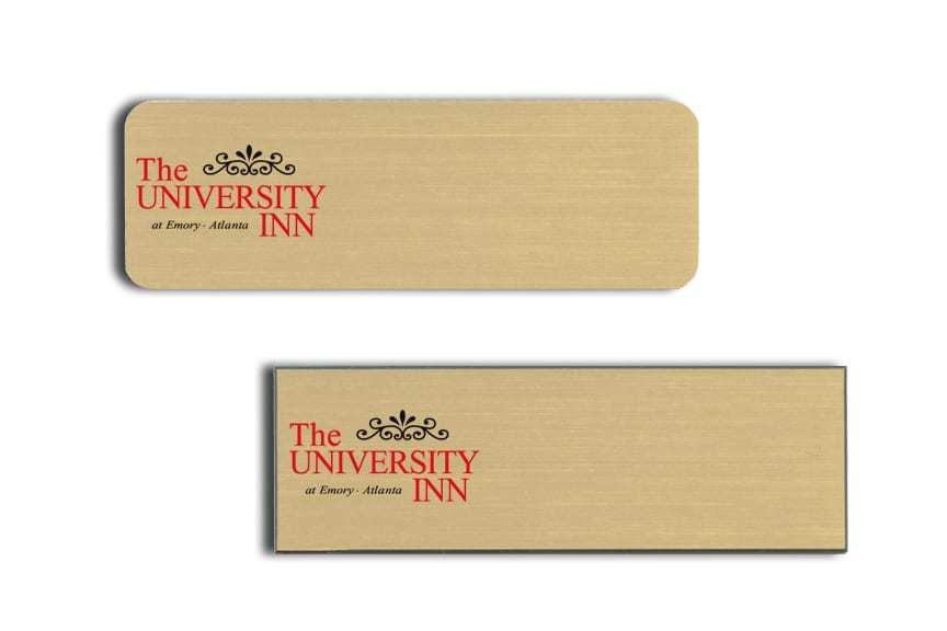 University Inn name badges