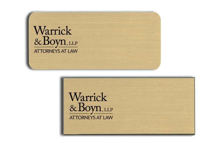Warrick and Boyn name badges