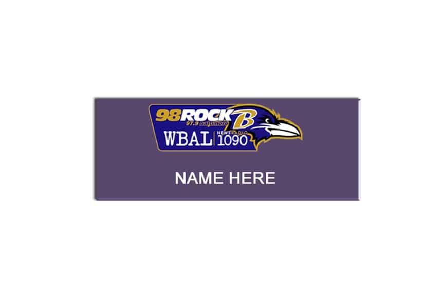 98 Rock WBAL name badges