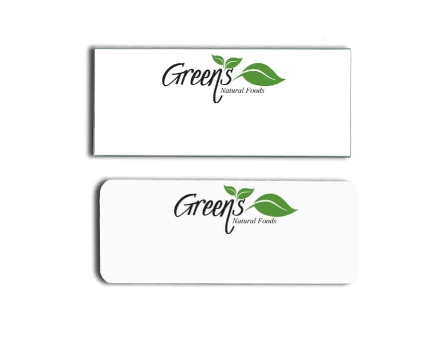 greens natural foods name badges tags