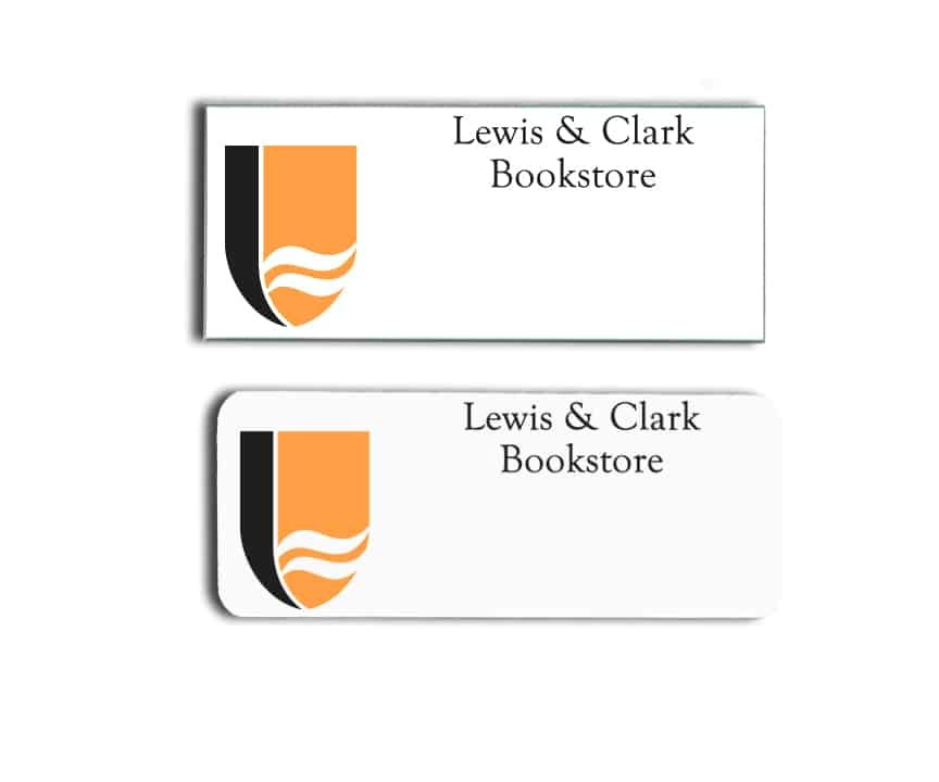Lewis and Clark Bookstore name badges