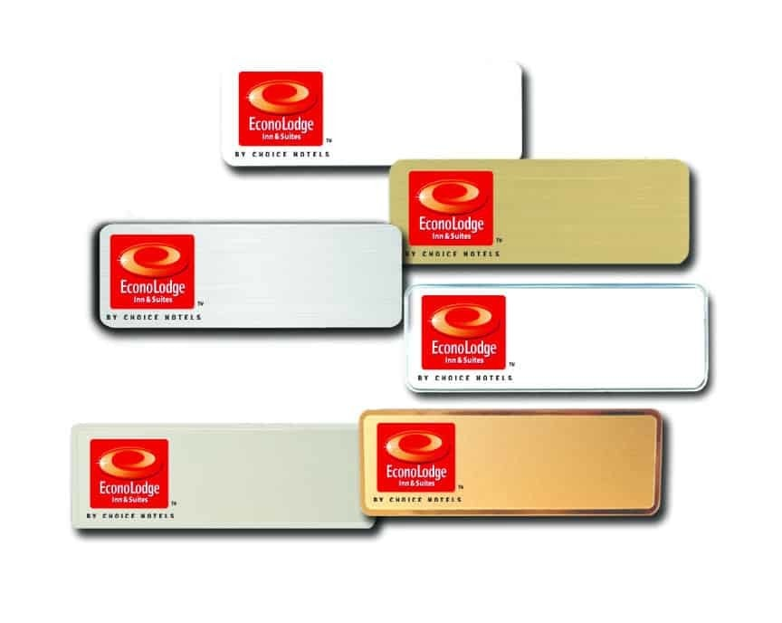Econolodge Inn and Suites name badges