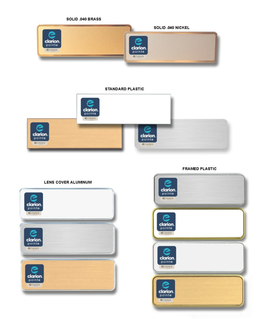 Clarion Pointe name badges tags