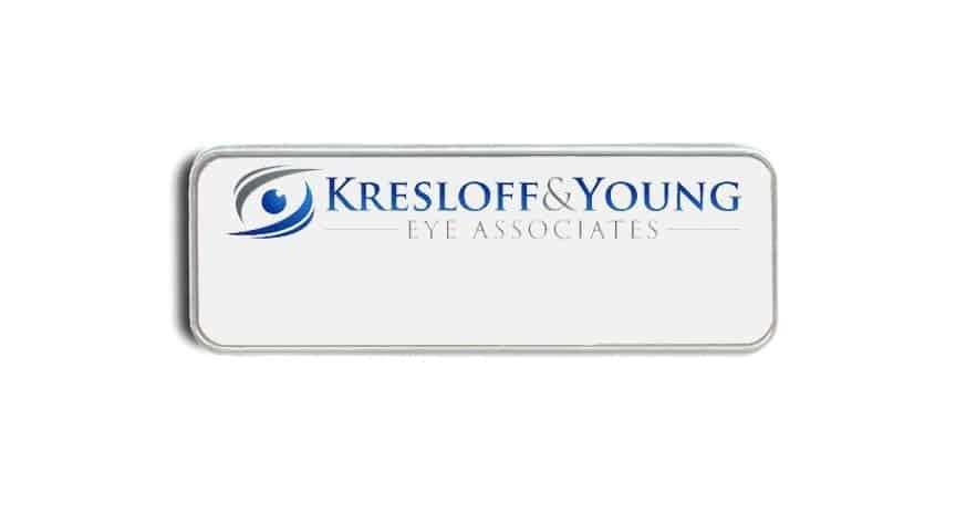 Kresloff & Young name badges tags