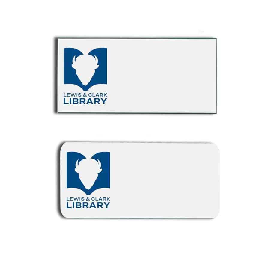 Lewis & Clark Library name badges tags