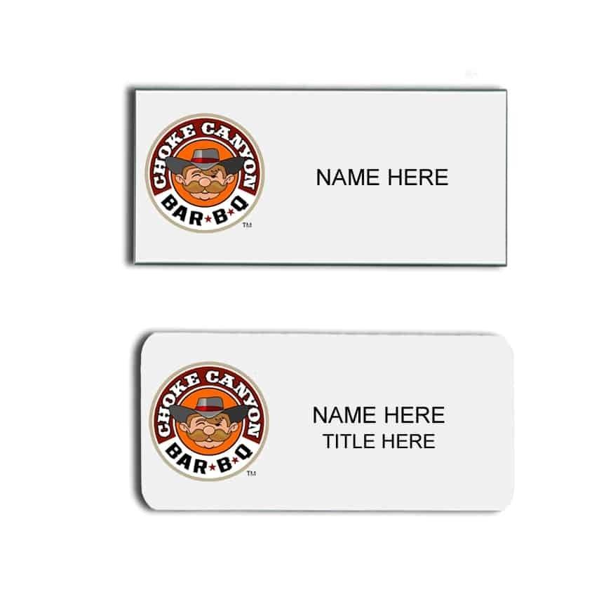 Choke Canyon BarbBQ name badges