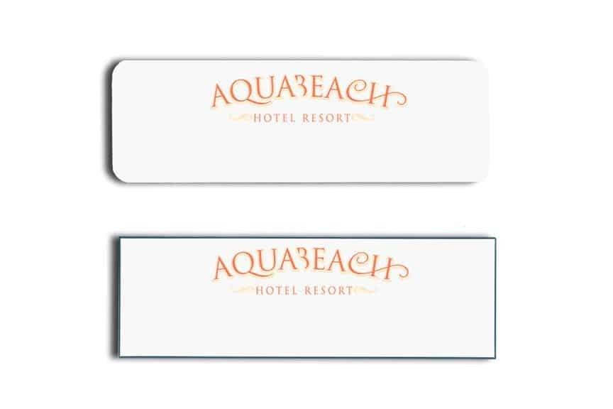 Aquabeach Hotel Name Tags Badges