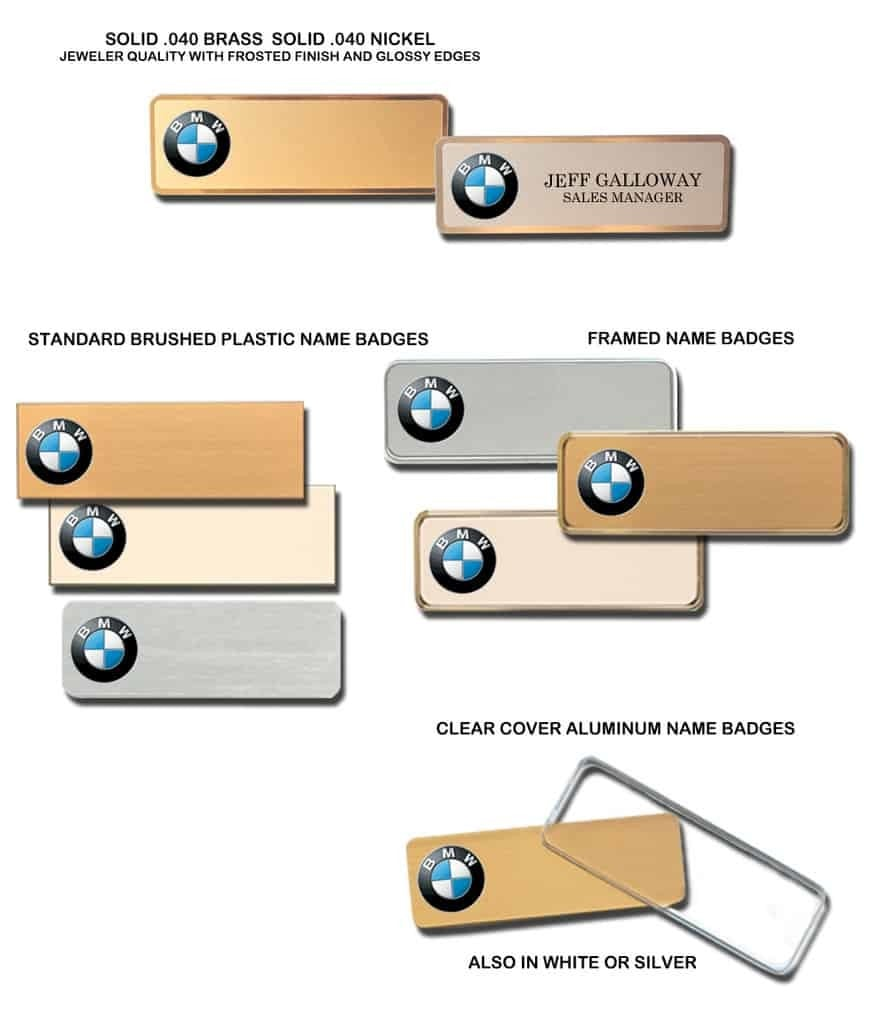 BMW Name Badges Tags