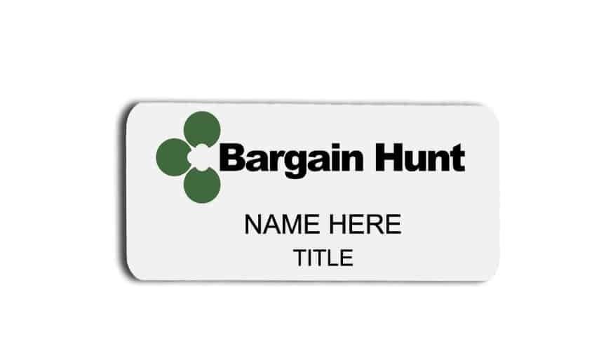 Bargain Hunt name badges tags