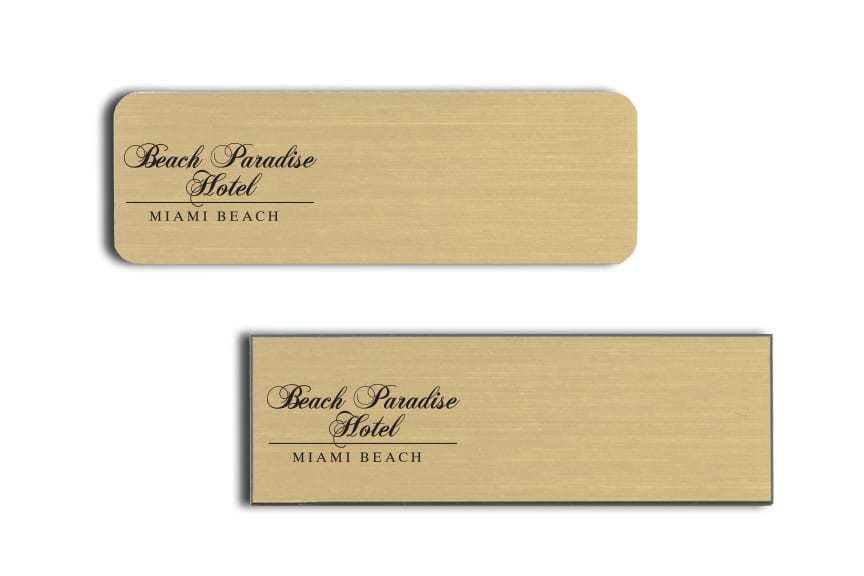 Beach Paradise Hotel Miami Name Badges