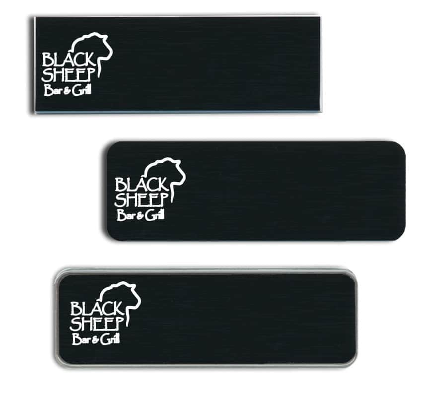 Black Sheep Bar and Grill Name Tags Badges