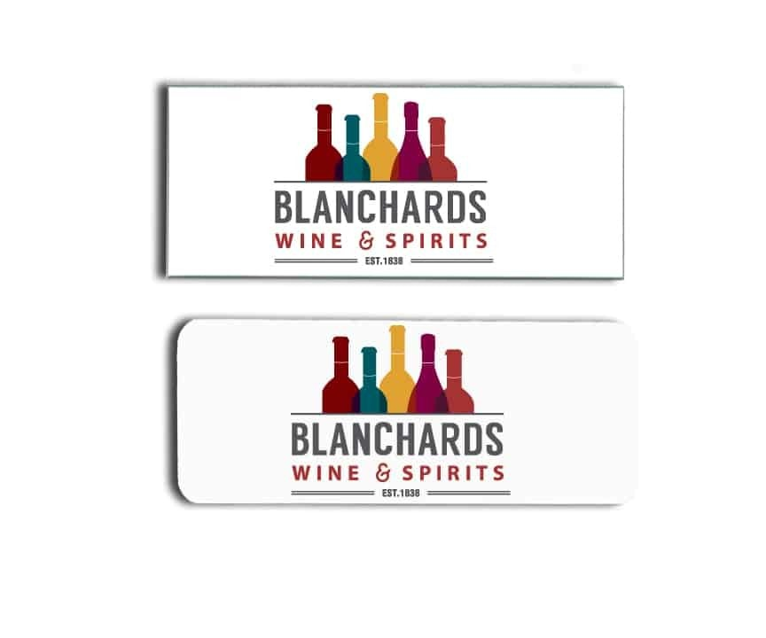 Blanchards Wine and Spirits name badges