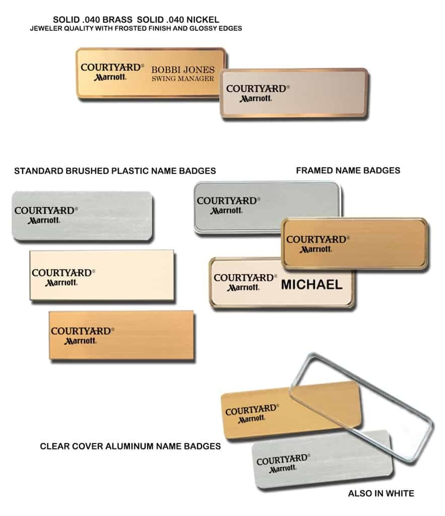 Courtyard by Marriott Name Tags Badges