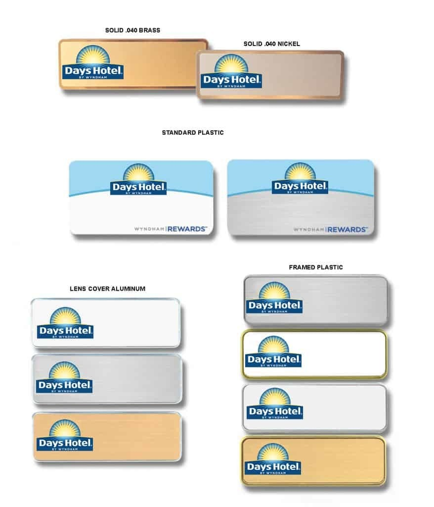 Days Hotel name badges tags
