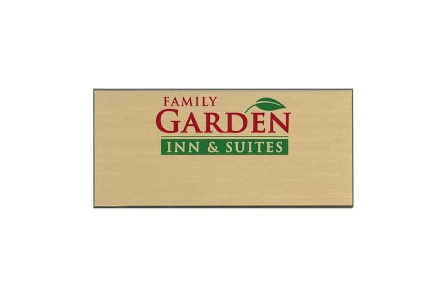 Family Garden Inn & Suites name badges tags