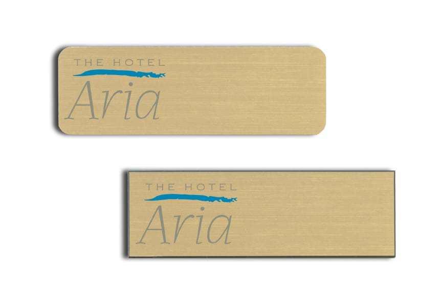Hotel Aria name badges tags