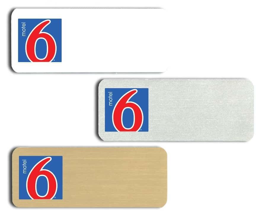 Motel 6 name badges