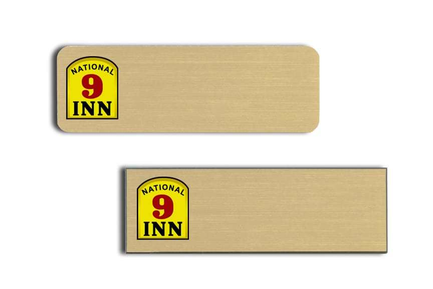 National 9 Inn name tags badges