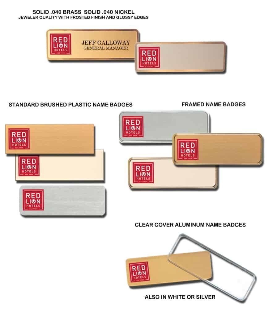 Red Lion Hotel name badges