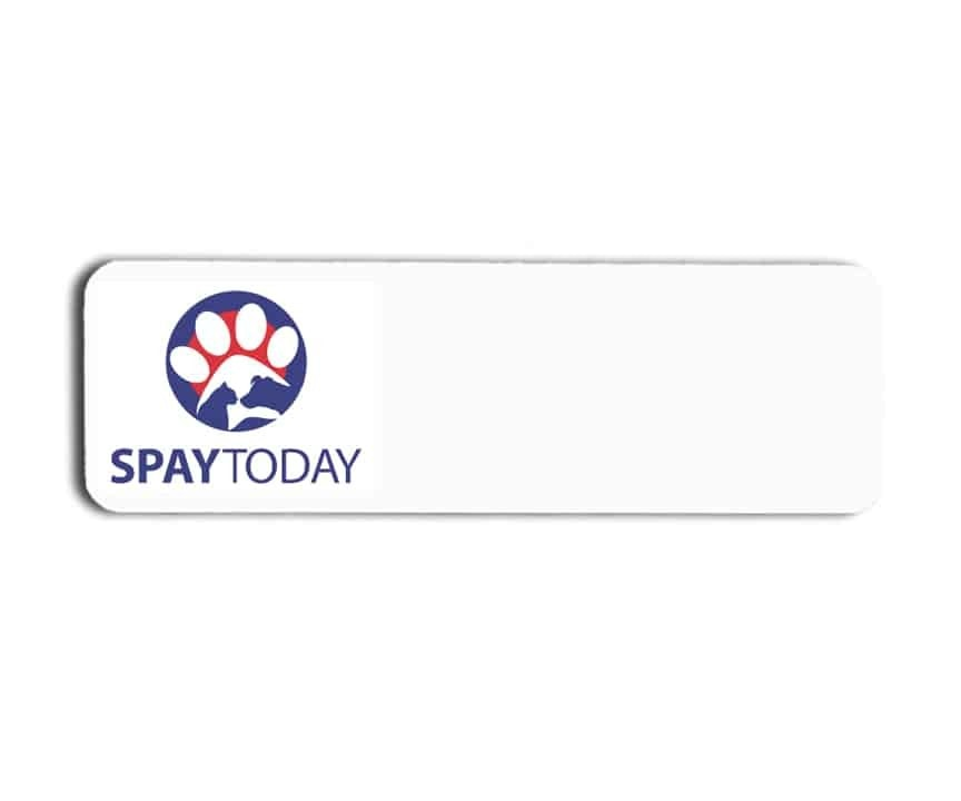 Spay Today name badges tags